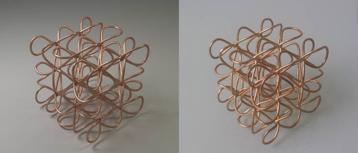 Cubic Celtic knot rendered using Blender Cycles and 3D printed in raw bronze