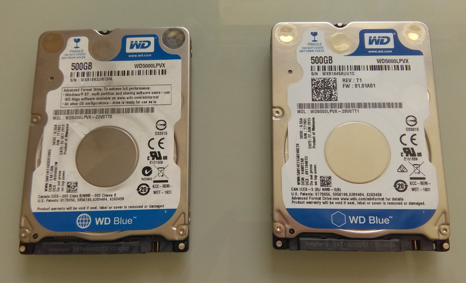 Old drive on the left, new drive on the right