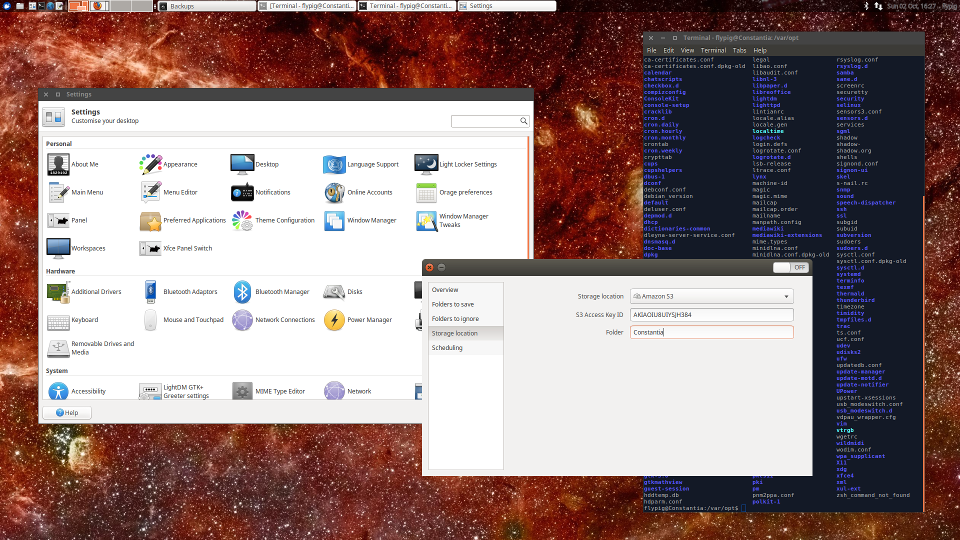 The XFCE desktop running on Constantia with beautiful NASA background