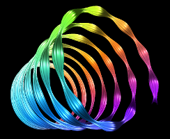 Curves showing a Bezier spiral with undulating radius